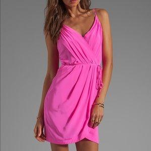 Yumi Kim Jayne silk dress neon pink faux wrap